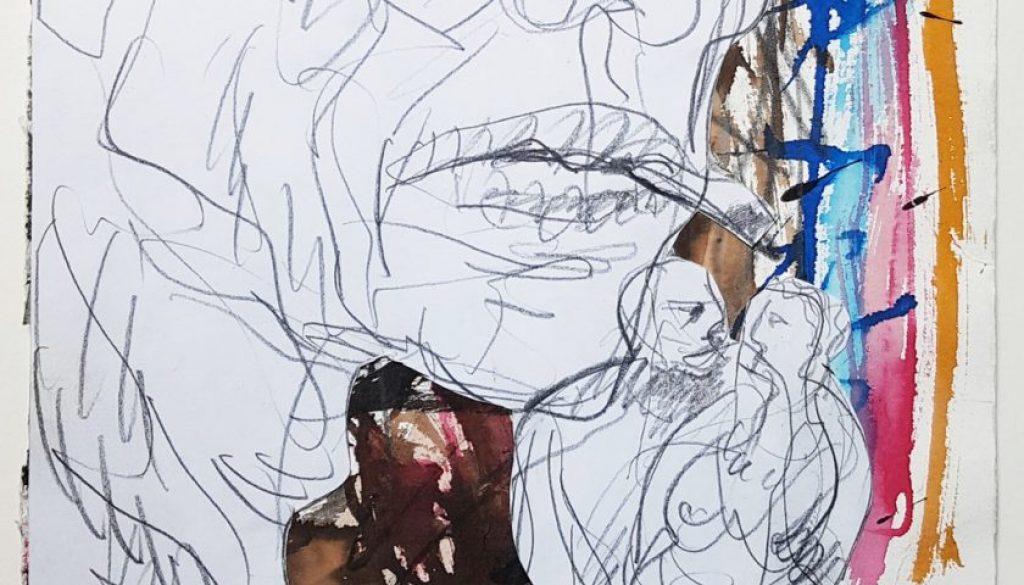 Karl Stengel - Senza titolo - Collage carta, inchiostro, matita e acquerello