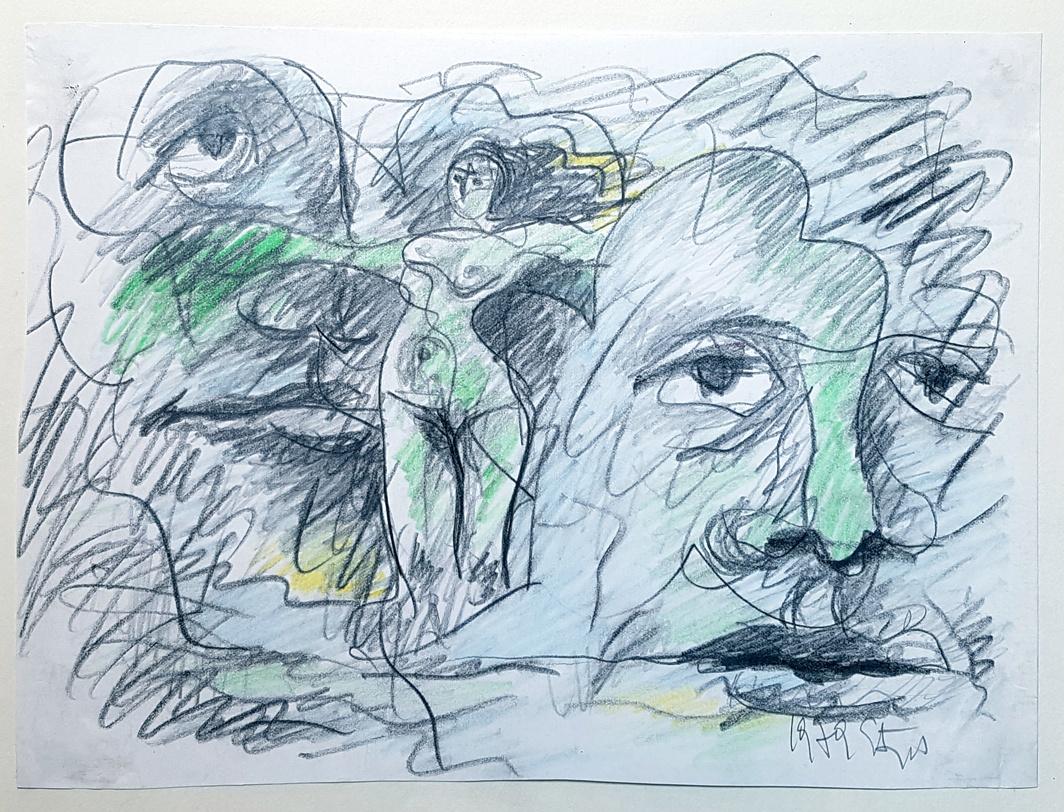 Karl Stengel - Senza titolo disegno 1 1979 20x27cm - Pastello a olio e matita su carta
