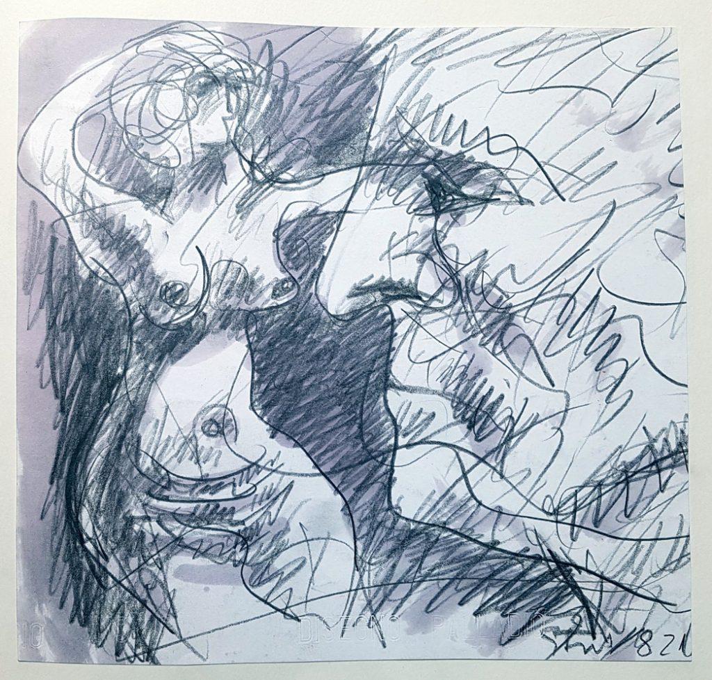 Karl Stengel Senza titolo disegno 1982 Matita e acquerello su carta