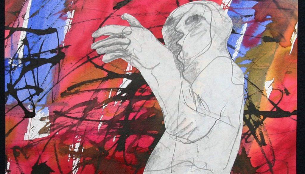 Karl Stengel Senza titolo disegno 2 2007 32x32 Collage carta inchiostro matita e acquerello