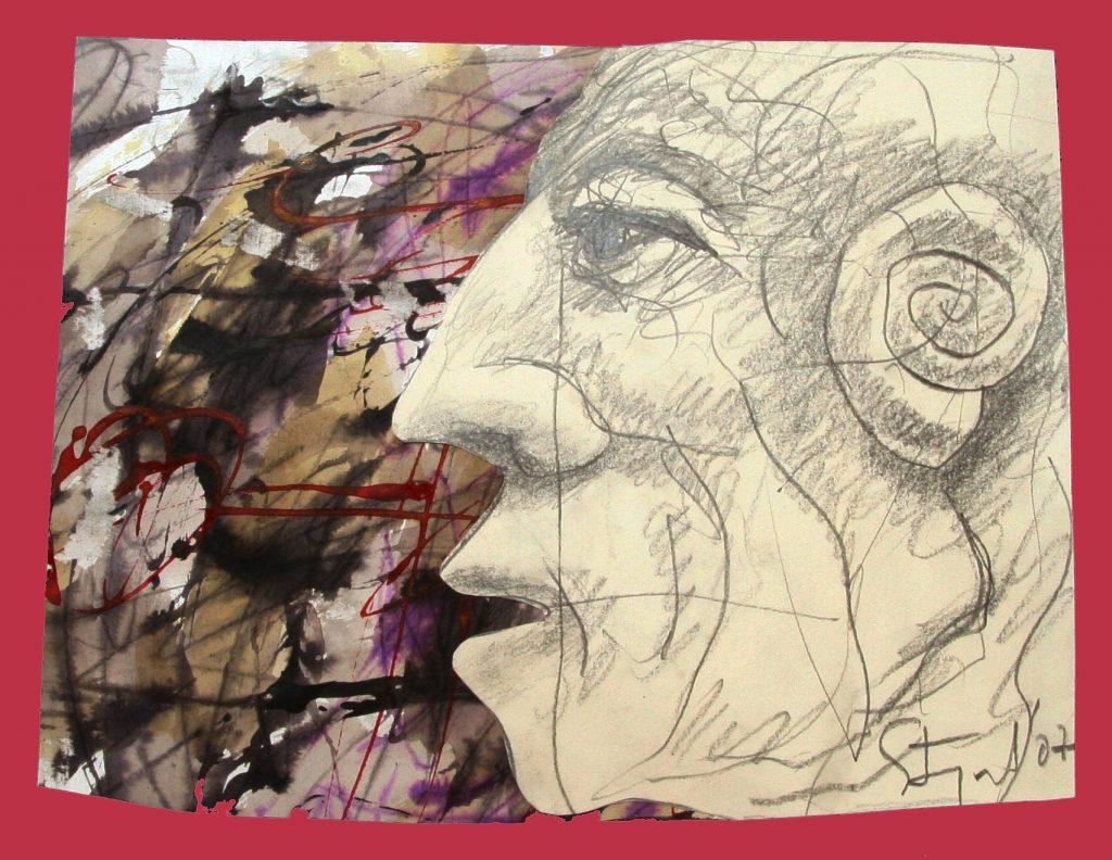 Karl Stengel Senza titolo disegno 1 2007 29x38 Collage carta inchiostro e acquerello