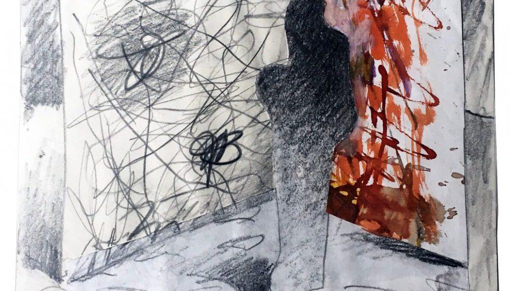 Karl Stengel - Senza titolo 4 (2005) Collage matita e acrilico su carta (32x32cm)